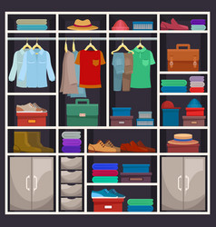 man closet or male wardrobe with cloth vector image