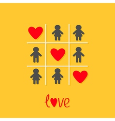 Man Woman icon Tic tac toe game Three red heart vector