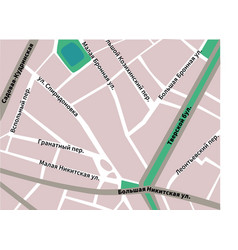 Map of patriarshie prudy moscow pink colors vector