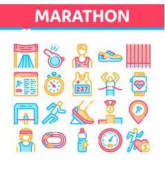 Marathon collection elements icons set vector
