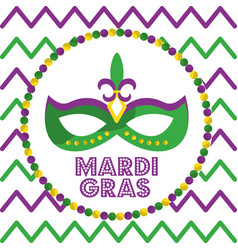mardi gras carnival mask with feathers round beads vector image