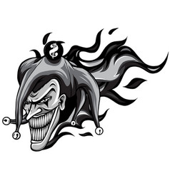 monochromatic evil joker with flames vector image