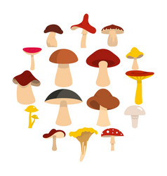 mushroom icons set in flat style vector image