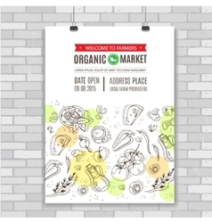 Organic food poster template vector