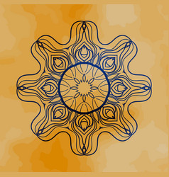 Outlined mandala over henna colored old paper vector