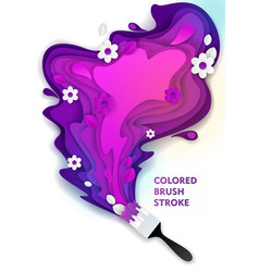 Paint brush stroke paper cut vector