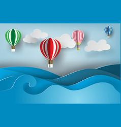Paper art of ballon on sea viewsummer vector
