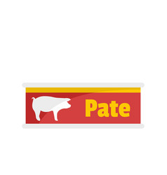 Pate tin can icon flat style vector