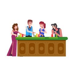 people playing casino poker gambling bets vector image