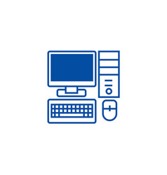 personal computermonitor keyboard line icon vector image