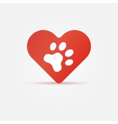 Pet paw in red heart animal love icon vector image