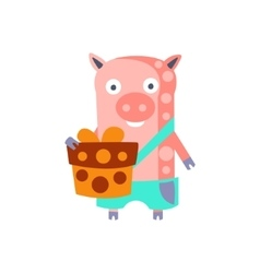 Pig With Party Attributes Girly Stylized Funky vector image