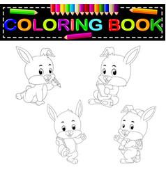 Rabbit coloring book vector