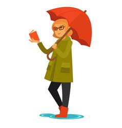 Rain weather woman or girl under umbrella reading vector