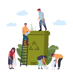 Recycling concept people is engaged in recycling vector