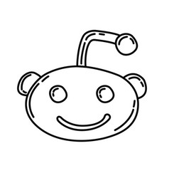 Reddit icon doodle hand drawn or black outline vector