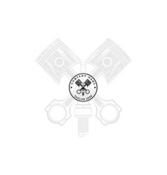retro vintage piston spark plug auto garage logo vector image