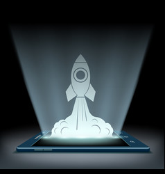 Rocket takes off from the screen of the tablet vector