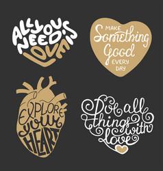 Set hand drawn typography design element vector