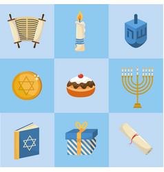 Set happy hanukkah decoration to tradition vector