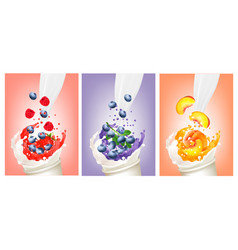set of berries and fruit in a milk and jiuce vector image