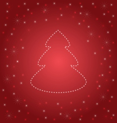 Shining Christmas tree on red vector