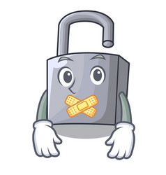 Silent new metal padlock isolated on mascot vector