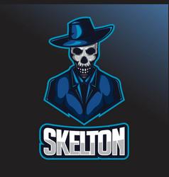 Skull e sport logo template skull with cowboy hat vector