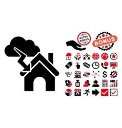 Storm Building Flat Icon with Bonus vector image