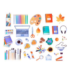 Top view set workplace items vector