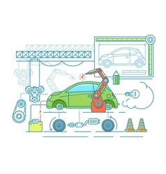 Vehicle assembling flat design vector image