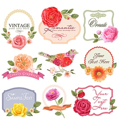 Vintage labels with flowers and bird vector image