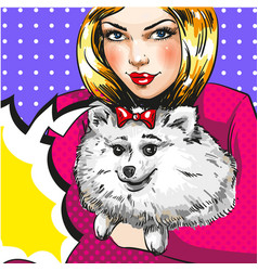 Vintage pop art girl with her pet dog vector