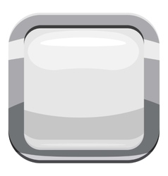 White square button icon cartoon style vector