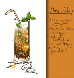 With hand drawn mint julep cocktail vector
