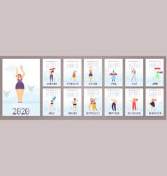 woman calendar 2020 12 month feminist flat style vector image