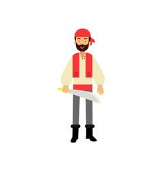 Cartoon flat bearded pirate character standing vector