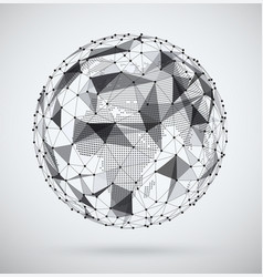 global network sphere with a pixel map inside vector image
