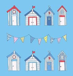 hand drawn beach huts and bunting vector image