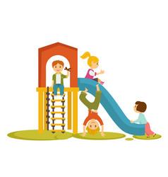 kids children playing on playground cartoon vector image vector image