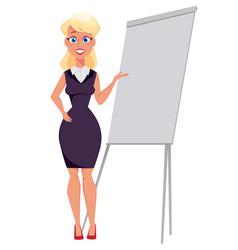 Young cartoon businesswoman standing near office vector