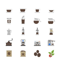 Coffee and Drink Flat Color Icons vector image vector image