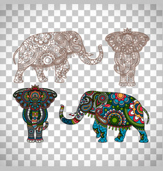 Decorated elephant on transparent background vector