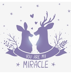 deer couple portrait vector image
