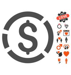 dollar diagram icon with valentine bonus vector image