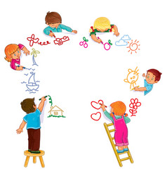 little boys and girls draw with colored vector image vector image
