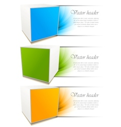 set of banners with cube vector image vector image
