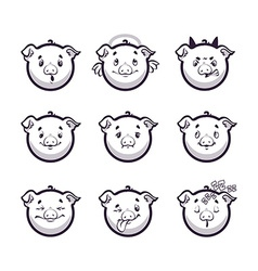 Set smiles pig Monochrome emotions icons vector image vector image