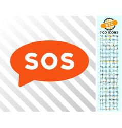 Sos message balloon flat icon with bonus vector