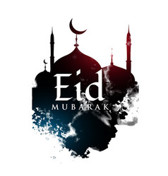 eid mubarak greeting design with mosque shape and vector image